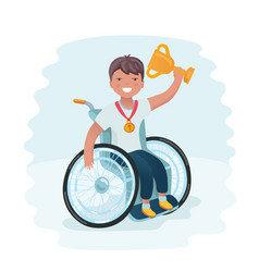 cartoon of a boy in a wheelchair vector image