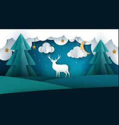 cartoon paper landscape deer sun vector image