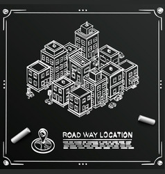 chalkboard sketch road in cityscape isometric vector image