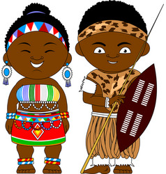 Cheerful african couple from south africa republic vector