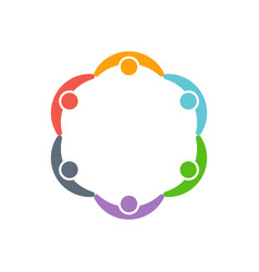Children people around a circle logo vector