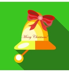 Christmas bell icon flat style vector image