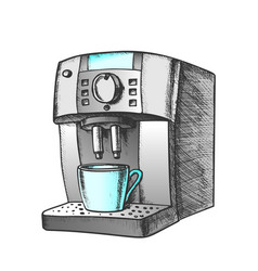 coffee automatic machine with cup retro vector image