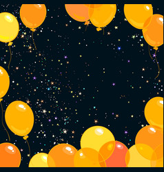 colorful yellow and orange flying balloons vector image