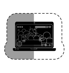 Computer laptop with video game vector