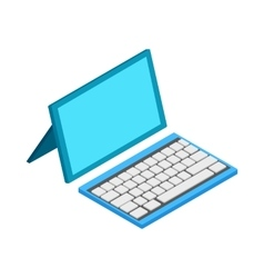 Computer with wireless keyboard icon vector image