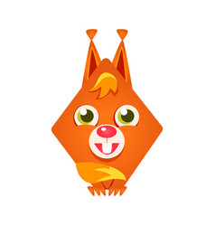 Cute geometric red squirrel colorful cartoon vector