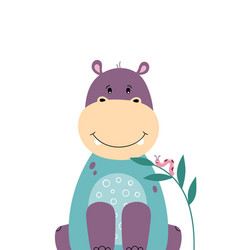 Cute hippo poster for baby room vector