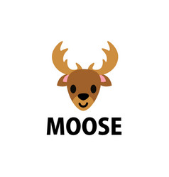 cute moose flat logo icon vector image