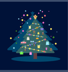 decorations on christmas tree vector image