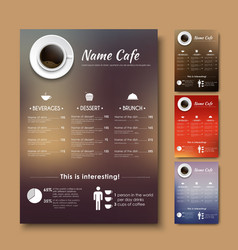 Design a menu for the cafe shops or coffee with a vector image
