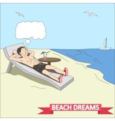 Doodle man dreams at beach vector