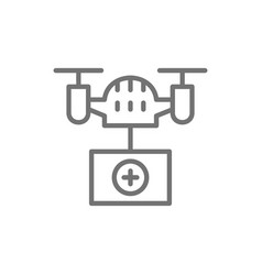 Drone with medical box fast delivery vector