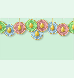 easter seamless border with realistic golden eggs vector image