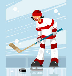 Female hockey player vector