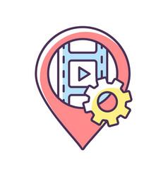 Filming location rgb color icon vector