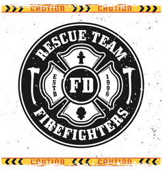 Firefighters rescue team round emblem vector