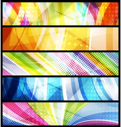 Five abstract banners vector