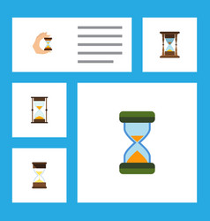 Flat icon sandglass set of minute measuring vector