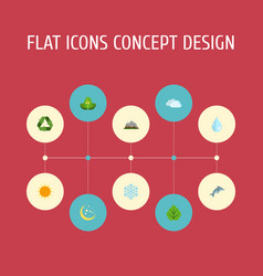 Flat icons sunshine water winter snow and other vector