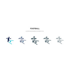 Football icon in different style two colored and vector