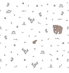 forest seamless pattern with animals vector image