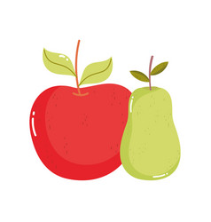 fresh fruits apple and pear on white background vector image
