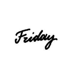 Friday handwriting ink black on white bru vector