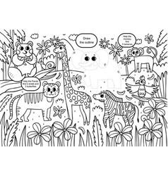Fun coloring book for kids vector