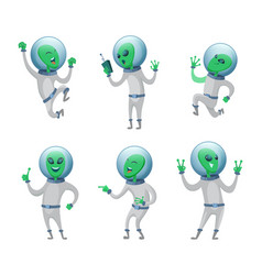 Funny aliens standing in various poses vector