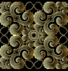 geometric gold 3d swirls greek key meander vector image