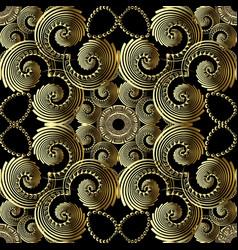 Geometric gold 3d swirls greek key meander vector