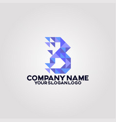 geometry polygon triangle logo letter b 02 vector image