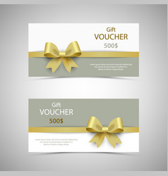 Gift voucher with design golden bow template vector