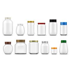 glass jars lids realistic mockup food packages vector image