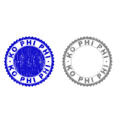 grunge ko phi scratched stamps vector image