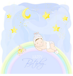 happy birthday card wirh sleeping baby vector image