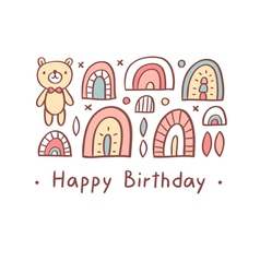 Happy birthday greeting bear vector image vector image