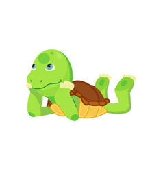 happy young cartoon turtle lies and dreaming or vector image