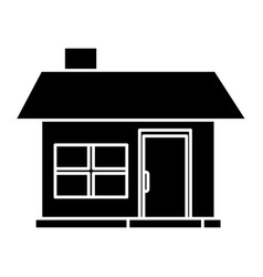 House facade small chimney architecture pictogram vector