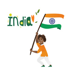 indian boy kid teenager holding national flag vector image