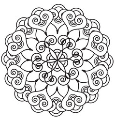 Indian henna tattoo inspired heart shapes wreath 4 vector
