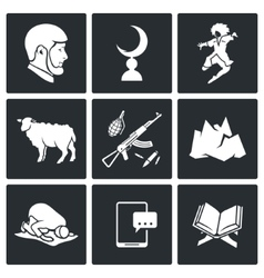 Islam in Chechnya Icons Set vector image