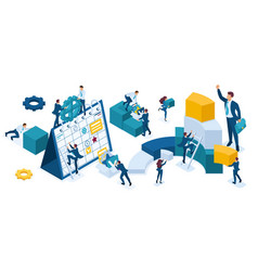 isometric set business people who make up vector image