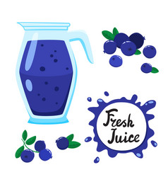 Juice with blueberry in glass jug cartoon vector