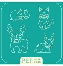 linear icons of pets vector image
