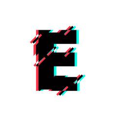 Logo letter e glitch distortion diagonal vector
