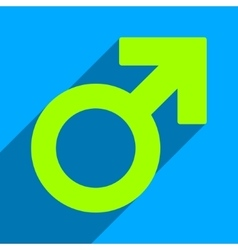 Male Symbol Flat Square Icon with Long Shadow vector