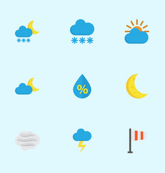 Meteorology flat icons set collection of windy vector