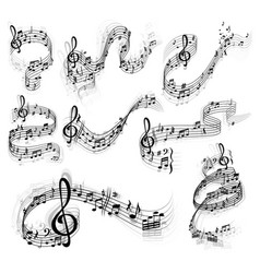 music notes swirls staff stave treble clefs vector image